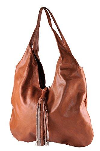 BORDERLINE - 100% Made in Italy - Borsa Sacca da Donna in Vera Pelle - SERENA Color Cuoio