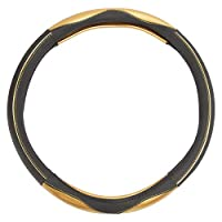 Leather Splicing Steering Wheel Sleeve Black
