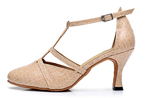 TDA ,  Damen Durchgängies Plateau Sandalen mit Keilabsatz 7.5cm Heel Beige