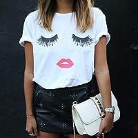 TYML Venta Al por Mayor Camisetas Mujer Pestañas Ojos Labios 1980T Sólido Moda Femenina Blanco Casual Top Estilo De Oficina De Impresión De La Camiseta