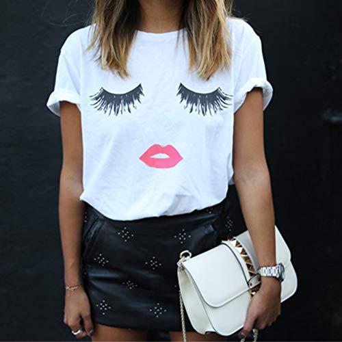 TYML T Shirts Frauen Wimpern Augen Lippen 1980 Frauen Mode Weiß Casual Top Weibliche Büro Stil Druck T-Shirt (Top Halloween-kostüme Weiblichen)