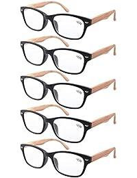 Eyekepper pack de 5 primavera bisagra vetas de madera impresos brazos gafas de lectura 2.25