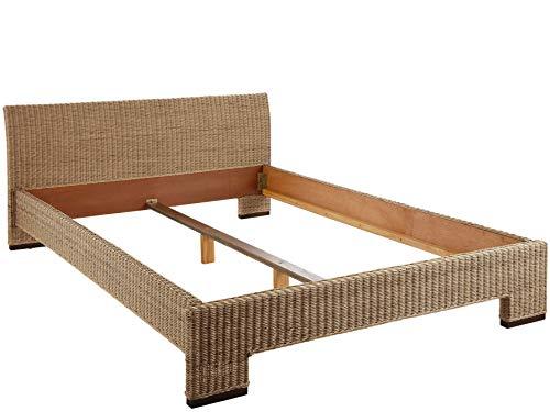 Loft24 Capri Rattan Bett 140x200 cm Doppelbett Bettgestell Bettrahmen Landhaus Polyrattan grau