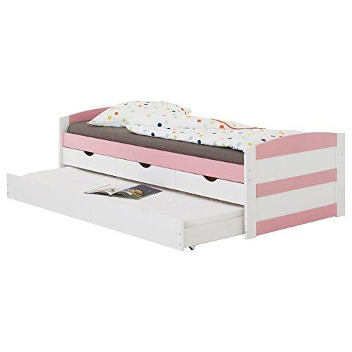 IDIMEX Kojenbett Jessy, Funktionsbett Stauraumbett Bett mit Stauraum Schubladenbett Jugendbett, 90 x 200 cm, Kiefer massiv, in weiß/rosa