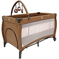 Asalvo Boop Leather Travel Cot, Brown preiswert