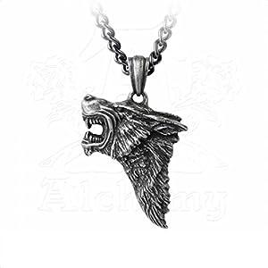 Alchemy Wolfskopf Gothic Dark Wolf Anhänger Halskette Amulett Talisman