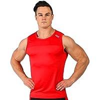 WICHENG Deportes sin Mangas de envío Libre de Fitness Gym Camisas Tapas del Tanque de Aptitud Que se Ejecuta Hombres de la Ropa Deportiva de Verano Gimnasia Chaleco (Color : Red, Size : XXL)