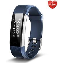Juboury ID115P blu de, Fitness Tracker,Juboury Smart Bracelet mit Pulsmesser Herzfrequenzmesser,Aktivitätstracker,Schrittzähler,SchlafMonitor,Kalorienzähler Fitness Uhr für Android und IOS Smartphones(Blau)