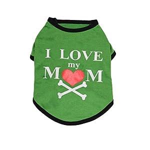 "Angelof Vetement Chien/Chat Tee Shirt Vert Chien Imprimer ""I Love My Mom"" Habit Chiot Veste Accessoire Chien Petite Taille Chihuahua"