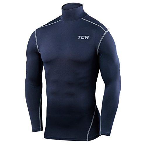 TCA Pro Performance Jungen Funktionsshirt/Kompressionsshirt mit Stehkragen - Langarm - Marineblau, 152 (10-12 Jahre)