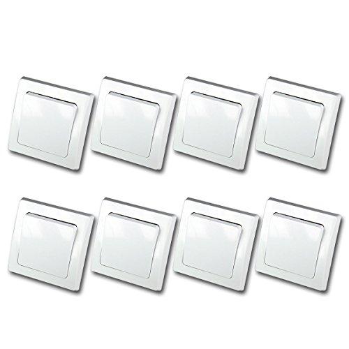 DELPHI 8er Set Wechsel-Schalter weiß 250V~/ 10A