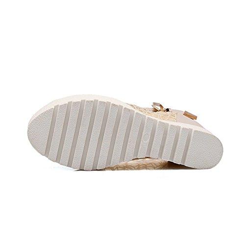 Adee Mesdames Zip accentuer les Sandales En Polyuréthane à lintérieur Beige - beige