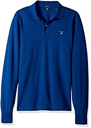 GANT Mens Long-Sleeved Pique Polo Shirt, Yale Blue, 3XL