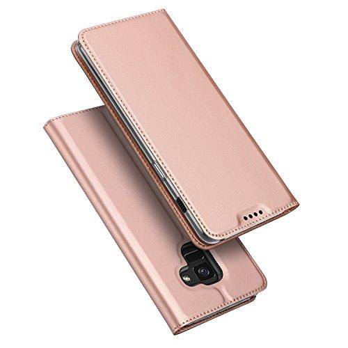DUX DUCIS Samsung Galaxy A8 2018 Hülle, Handyhülle [Standfunktion] [1 Kartenfach] [Magnetverschluss] [Rose Golden] Ultra Dünn, Slim Flip Case Cover,Ledertasche Schutzhülle für Galaxy A8 2018