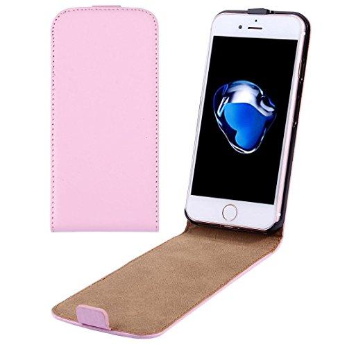iPhone Case Cover Per il caso di cuoio di iPhone 7 verticale flip Genuine Split ( Color : Pink )
