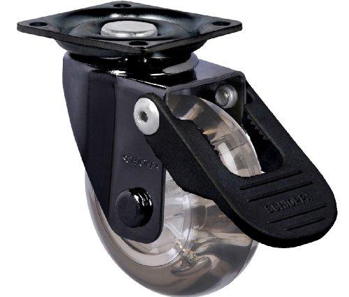 schioppa, glap 210Gel schwarz FPI-BR, 5,1cm (50mm) Drehgelenk Bremse Caster, abriebfeste Polyurethan Whl, 90Lb, Teller 1-21/32x 1-21/81,3cm (BH 1-1/4x 1-1/10,2cm) -