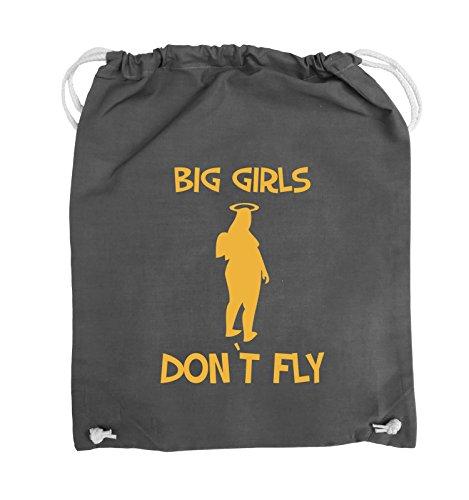 Comedy Bags - BIG GIRLS DON'T FLY - Turnbeutel - 37x46cm - Farbe: Schwarz / Silber Dunkelgrau / Gelb
