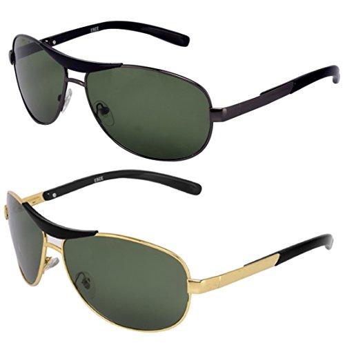Silver Kartz Metal-Crown Wayfarer Rectangular Combo Unisex Sunglasses (AV035 40 Multicolour)