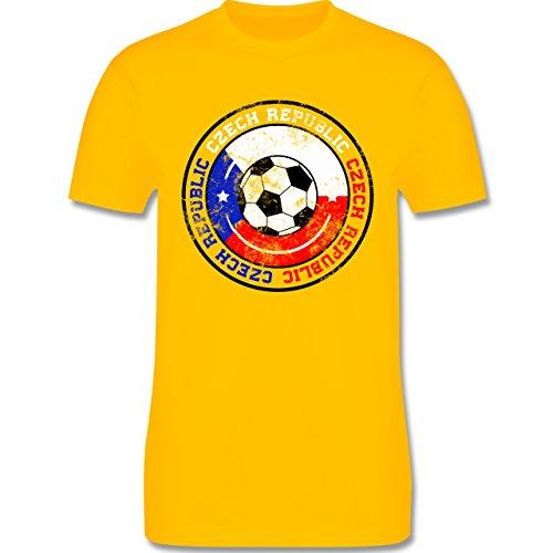 EM 2016 - Frankreich - Czech Republic Kreis & Fußball Vintage - Herren Premium T-Shirt Gelb
