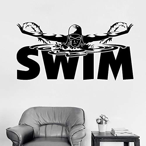 Segnaletica per piscina Wall Sticker Vinile Murale Sport Adesivo Art Boy Girl Bedroom Decor Wallpaper Swim Poster 56x112cm