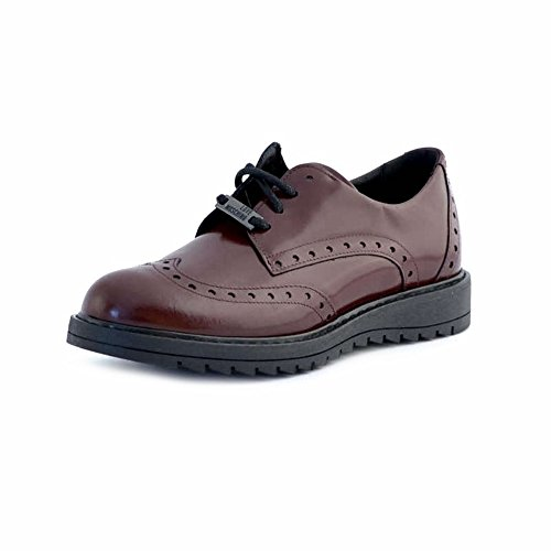 Chaussures Love Moschino style anglais pour femme, bordeaux, en cuir Rouge