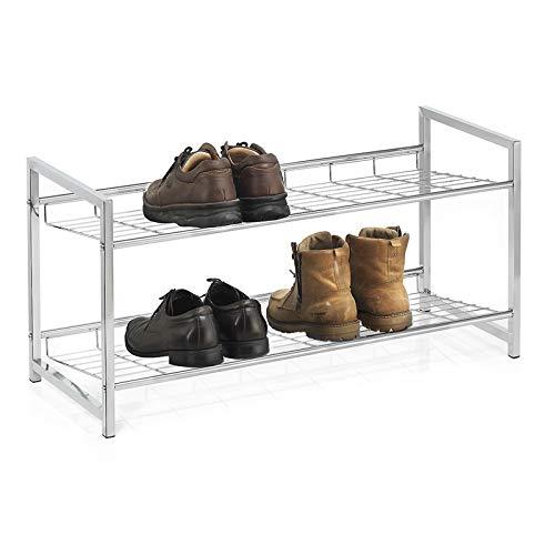 CARO-Möbel Schuhregal Valerio Schuhablage Schuhaufbewahrung, Metallgestell verchromt mit 2 Ablagen für bis zu 8 Paar Schuhe