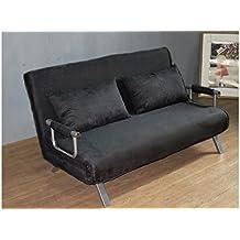 ITALFROM - Sofá cama de dos plazas (155 x 69 x 83 cm) color negro
