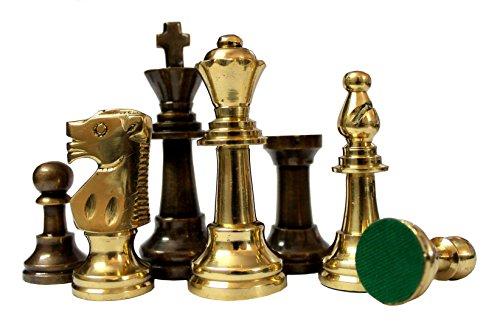Stonkraft 8,9 cm Königshöhe - Sammleredition Messing Schachfiguren Münzen Bauer Staunton Figur Figurenteile - Marmor Aus Massivem Messing