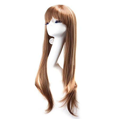 Caitlyn Kostüme (Xcoser Halloween Kostüm Caitlyn Recht Langes Lockiges Brown Perücke Wig für Cosplay)