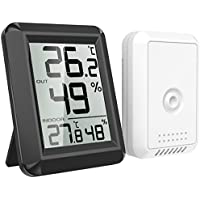 AMIR Thermomètre Hygromètre Intérieur, Hygromètre Thermomètre Extérieur sans Fil, Grand Écran LCD, ℃/℉ Commutateur, Moniteur de Température et d'humidité Intérieur/Extérieur (Noir)