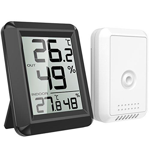 AMIR Thermomètre Hygromètre Intérieur, Hygromètre Thermomètre Extérieur sans Fil, Grand Écran LCD, ℃/℉ Commutateur, Moniteur de Température et d'humid...