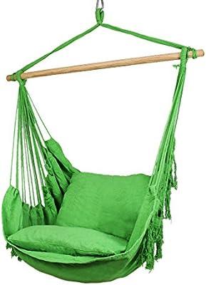 Holifine-Hamaca de Algodón Multicolor de 100 x 90cm, Resistencia de 100kg, 2 x Almohada de 42 x 42cm