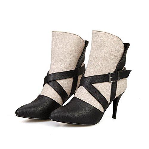 AllhqFashion Damen Metalldekoration Blend-Materialien Stiletto Ziehen Auf Stiefel Cremefarben