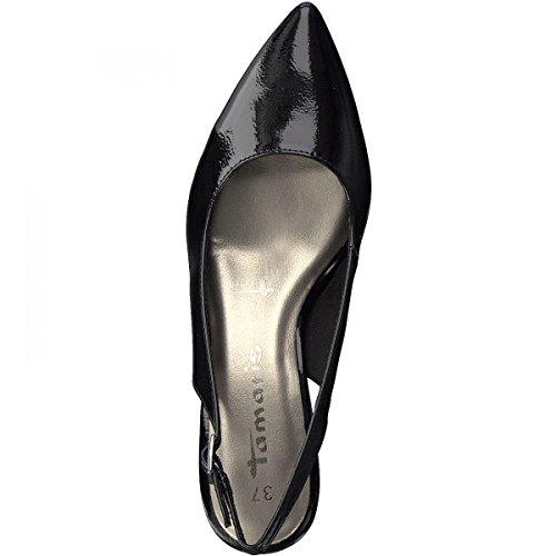 Tamaris Damen 29601 Slingback Sandalen Black Patent