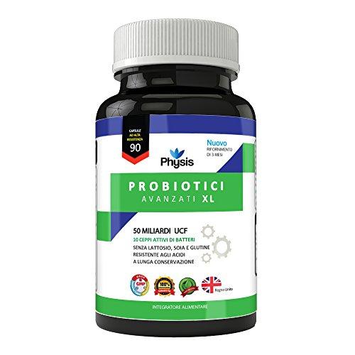 Probiotici Avanzati Physis XL - 90 Capsule | 50 Miliardi Di Ceppi Batterici Ogni Giorno | | Alta Resistenza | Batteri Utili| Promuove l Benessere Globale | Fabbricato Nel Regno Unito