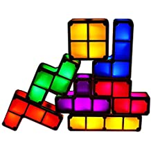 Luz de Noche de 7 Colores, Tetris LED Night Light DIY Puzzle Apilable Warm Kid