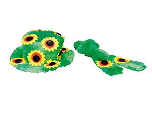 Generique - Hippie Kostüm-Set Plüsch für Damen grün-gelb -