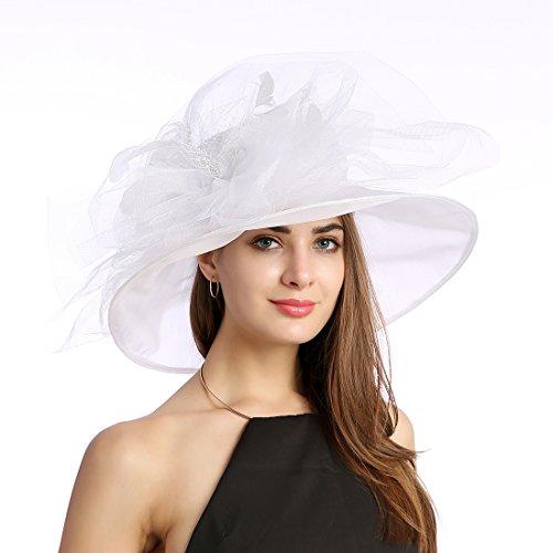 MissCynthia Women s Organza Church Kentucky Derby Fascinator Tea Party  Wedding Hat (White Feathers) e464f95a567