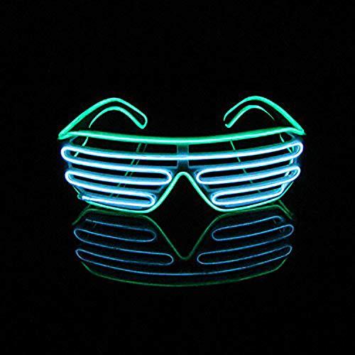 Queta LED-Licht-Brille Jalousien Cheering Party Bar KTV Bühne Performance Geschenk Spielzeug für die Atmosphäre Green Frame + Blue - Lustige Weihnachts Party Kostüm