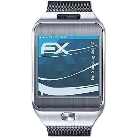 3 x atFoliX Samsung Galaxy Gear 2 Protector de pantalla Lámina - FX-Clear ultra transparente