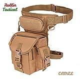 ROLLIN bolso de cintura hombre moto, bolso tactico de pernera para militares. Guarda tus accesorios de camping o herramientas de trabajo. bolso cintura hombre de caza o camara de fotos en color Marron