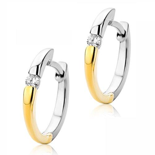 Creolen Ohrringe 14 Karat (585) Zweifarb/Weißgold und Gelbgold Ohr-Schmuck Brillianten 0.07ct ()