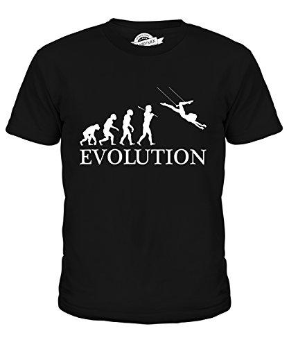 Candymix Trapez Evolution des Menschen Unisex Jungen Mädchen T Shirt, Größe 10 Jahre, Farbe - Trapez Zirkus Kostüm