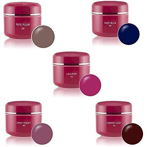 Gel UV colorati Set 5x5ml colori Nail Art pigmento Set