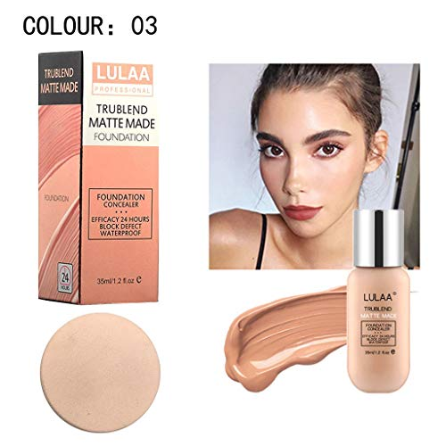 LULAA Wasserdichte Whitening Concealer Cover Shadows,Langlebige flüssige Grundierung,Makellose Feuchtigkeitsspendend Atmungsaktive Foundation Creme,Make-up-Basis,35ml (03)
