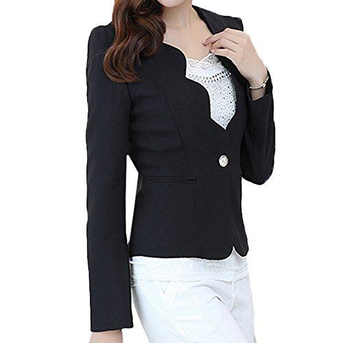 Scothen Femmes Veste Blazer élégant d'affaires Jersey blazer coton Fashion doublée doublure satin à manches 3/4 d'affaires poches Blazer stand-up veste costume féminin veste courte printemps Noir