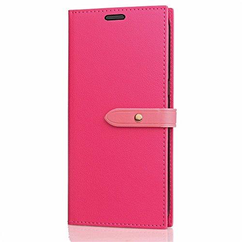 Business Style Mixed Farben Slim Design PU Ledertasche Brieftasche Stand Case [Shockproof] mit Niet Echtes Leder Gürtelschnalle & Kickstand & Card Slots für Huawei P10 Lite ( Color : Wine ) Rose