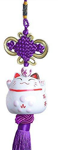 Maneki Neko–feng shui colgante con gato japonés–porcelana–suerte tradicional