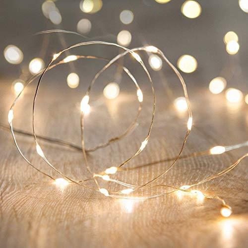 Catena led stringa luminosa decorazione di natale a batteria to invisibile 20 microled e filo argento per albero di natale presepe addobbi natalizi e decorare la casa
