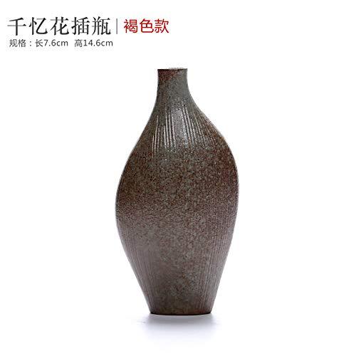 GBCJ jarrón de cerámica, Flor de alfarería Gruesa, decoración Antigua de Estilo japonés, arreglo de Flores secas, Ceremonia del té de Trompeta Moderna simplificada, Memoria Brown